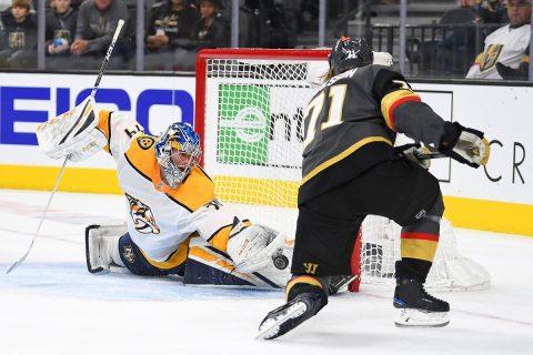Nashville Predators goaltender Juuse Saros (74) makes a save on a second period shot by Vegas Golden Knights center William Karlsson (71) at T-Mobile Arena. (Stephen R. Sylvanie-USA TODAY Sports)