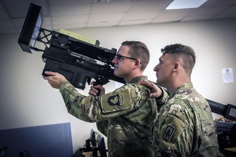 Pictured above, the STPT (Stinger Tactical Proficiency Trainer) provides soldiers with the capability to identify and engage aircraft while in a garrison environment. The Stinger Man Portable Air Defense System (MANPADS) provides expeditionary and highly mobile air defense coverage in contested and restrictive environments, Fort Campbell, KY, Feb 7th. (U.S. Army Photo by Sgt. Aaron Daugherty)