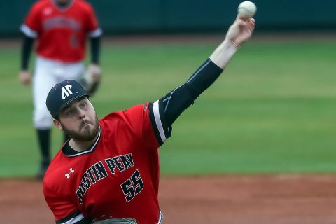 Austin Peay Baseball starting pitcher Josh Rye allowed three runs in five plus innings of work in loss to Kentucky, Sunday. (Robert Smith, APSU Sports Information)
