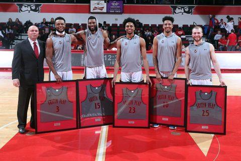 Austin Peay Basketball seniors (L to R) Chris Porter-Bunton, Jabari McGhee, Steve Harris, Jarrett Givens, and Zach Glotta were honored before Saturday's match against UT Martin. (APSU Sports Information)