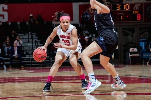 Austin Peay Women's Basketball puts together a late rally but comes up short in 67-57 loss to Eastern Illinois at the Dunn Center, Saturday. (APSU Sports Information)