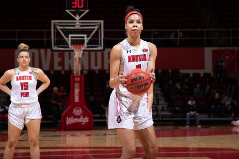 Austin Peay Women's Basketball takes down Murray State 59-56 at the Dunn Center Saturday afternoon. (APSU Sports Information)