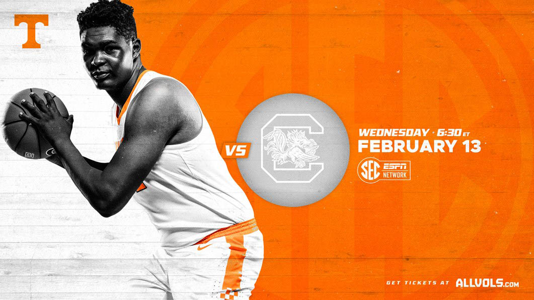 Tennessee Men's Basketball plays South Carlina at Thompson-Boling Arena Wednesday night. (UT Athletics)