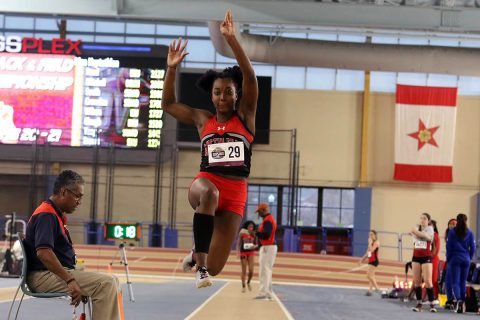 Austin Peay Track and Field sophomore Lennex Walker comes places sixth in the long jump. (APSU Sports Information)
