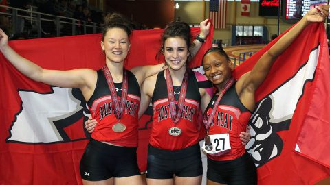 Austin Peay's (L to R) Dascha Hix, Savannah Amato and Tymeitha Tolbert metaled at 2019 OVC Indoor Track and Field Championships. (APSU Sports Information)