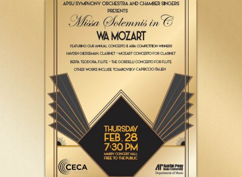 "Austin Peay State University Symphony Orchestra and the University's Chamber Singers will present Mozart's ""Missa Solemnis in C"" on Thursday, February 28th."