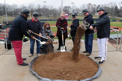 Austin Peay State University Director of Athletics Gerald Harrison is joined by Joe and Cathi Maynard, APSU president Dr. Alisa White, Linda and Doug Downey and Governors baseball head coach Travis Janssen in a ceremonial groundbreaking for the Governors new baseball clubhouse prior to the start of Saturday's contest. (Robert Smith, APSU Sports Information)