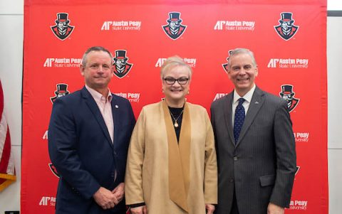 Montgomery Mayor Jim Durrett, APSU President Alisa White and Clarksville Mayor Joe Pitts meet at the inaugural APSU, Clarksville, Montgomery County Partnership Meeting.