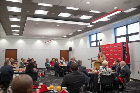 APSU President Alisa Whtie addresses the attendees at last Friday's meeting.