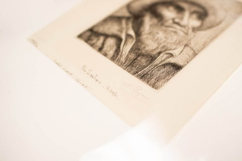 """This piece is signed by """"A. Legros"""" and includes the title, """"The Sailor,"""" and a note that it's one of 10 imprints."""
