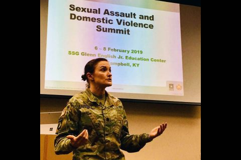 Lt. Col. Rebecca Farrell, a special prosecutor assigned to Fort Campbell's Office of the Staff Judge Advocate makes opening remarks for a three-day summit on sexual assault and domestic violence. Officials from Blanchfield, Fort Campbell and the local community participated in the summit Feb. 6 to 8 to examine processes and protocols used when responding to reports of sexual assault and domestic violence. (U.S. Army photo by Maria Yager)