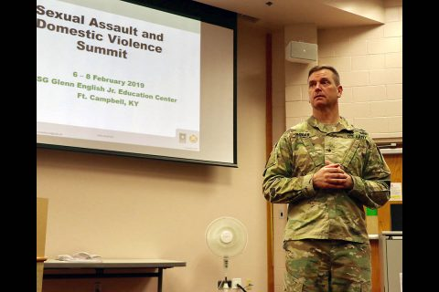 Brig. Gen. Todd Royar, deputy commanding general for support, 101st Airborne Division (Air Assault) listens to a question from the audience during a sexual assault and domestic violence summit on Fort Campbell, Feb. 6 - 8. Medical, law enforcement and legal personnel gathered to examine processes and protocols used when responding to reports of sexual assault and domestic violence. (U.S. Army photo by Maria Yager)