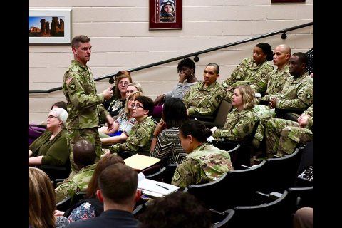Brig. Gen. Todd Royar, deputy commanding general for support, 101st Airborne Division (Air Assault) answers a question from the audience during a sexual assault and domestic violence summit on Fort Campbell, Feb. 6 - 8. Medical, law enforcement and legal personnel gathered to examine processes and protocols used when responding to reports of sexual assault and domestic violence.  (U.S. Army photo by Maria Yager)