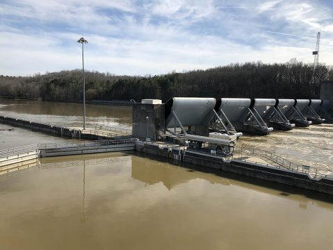 Water is moving through Cheatham Dam Feb. 26, 2019 at a rate of about 110,000 cubic feet per second. U.S. Army Corps of Engineers Nashville District officials are getting the word out to commercial and recreational navigators that Cheatham Lock will remain closed for at least 30 days due to the high water levels expected as the Corps continues to make water releases from its storage reservoirs upstream in the Cumberland River Basin. (Carol Vernon, USACE)