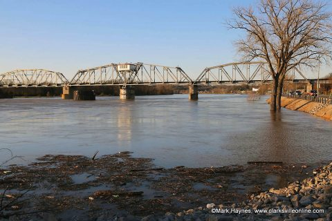 The Cumberland River at the R.J. Corman Railroad Bridge in Clarksville.