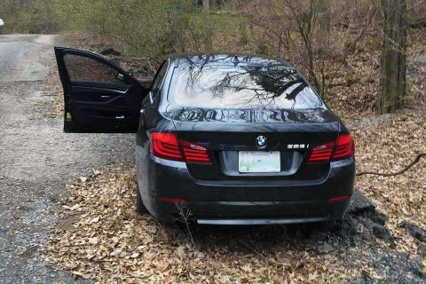 The stolen BMW was abandoned on Quarry Road that leads to the Vulcan Plant.
