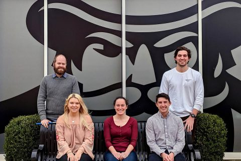 Pictured sitting from left are Erin Schwarzbach, Claire Ciafre and John Kauphusman; and standing are Cooper Breeden, left, and Austin Hannah.