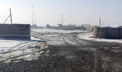 A view of Entry Control Point Glacier, in Dahlke, Afghanistan, portraying the progress that was made by the 495th Combat Support Sustainment Brigade team, February 5, 2019. Thanks to the efforts of expeditionary teams from the 495th Combat Sustainment Support Battalion, numerous entry control points have been constructed, further protecting the service members and civilians of the forward operating bases they surround. (CPT Jeremy Hargis, 495th Combat Sustainment Support Battalion)