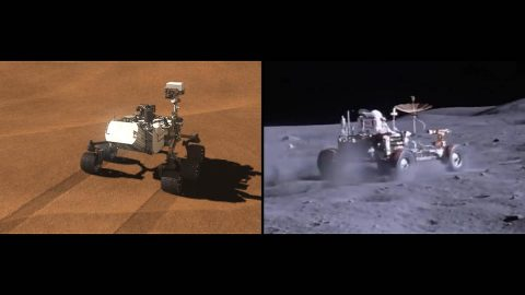 Side-by-side images depict NASA's Curiosity rover (illustration at left) and a moon buggy driven during the Apollo 16 mission. (NASA/JPL-Caltech)