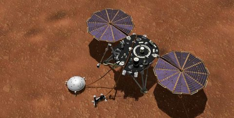 This artist's concept shows NASA's InSight lander with its instruments deployed on the Martian surface. Several of the sensors used for studying Martian weather are visible on its deck, including the inlet for an air pressure sensor and the east- and west-facing weather sensor booms. (NASA/JPL-Caltech)