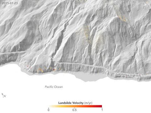 Velocity changes in the slide area, March 2015 to May 2017. In winter 2015-16, slide speeds increased with the winter rains and then slowed steadily until the following winter. In winter 2016-17, heavy rains caused the landslide to accelerate twice, first in December 2016 and then again in March 2017. The scientists think the double acceleration may have been a signal of the impending collapse in May. (EO)