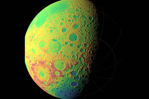 A false color view of the Moon's southern latitudes. The large blue area at the bottom of the frame is the South Pole-Aitken Basin, an enormous and very old impact feature on the far side of the Moon. (NASA/Goddard Space Flight Center Scientific Visualization Studio)