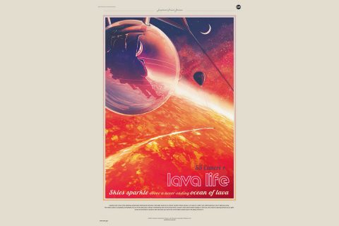 This Exoplanet Travel Bureau poster illustration shows futuristic explorers gliding in a protective bubble over the red-hot landscape of the exoplanet 55 Cancri e. Exoplanets are planets outside our solar system. (NASA/JPL-Caltech)