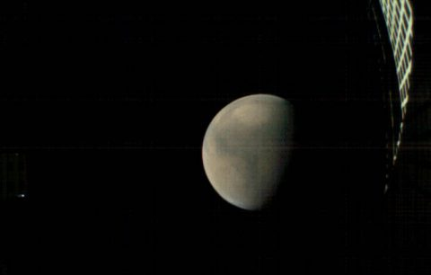 MarCO-B, one of the experimental Mars Cube One (MarCO) CubeSats, took these images as it approached Mars. Credit: NASA/JPL-Caltech