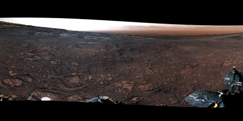This panorama from the Mast Camera (Mastcam) on NASA's Curiosity Mars rover was taken on Dec. 19 (Sol 2265). The rover's last drill location on Vera Rubin Ridge is visible, as well as the clay region it will spend the next year exploring. (NASA/JPL-Caltech/MSSS)