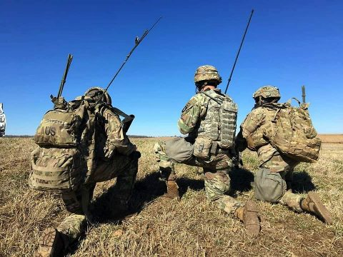 Soldiers from Leader FIST Platoon, Headquarters and Headquarters Battery, 3rd Battalion, 320th Field Artillery call for fire in support of their maneuver company. (3rd Brigade Combat Team, 101st Airborne Division (AA) Public Affairs)