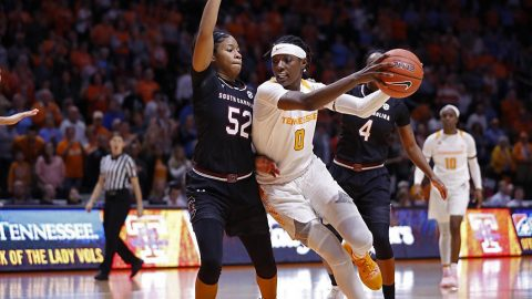 Tennessee Women's Basketball sophomore Rennia Davis had 15 points and 9 boards in loss to South Carolina Sunday. (UT Athletics)