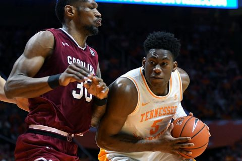 Tennessee Volunteers guard Admiral Schofield (5) moves the ball against South Carolina Gamecocks forward Chris Silva (30) during the second half at Thompson-Boling Arena. Tennessee won 85 to 73. (Randy Sartin-USA TODAY Sports)
