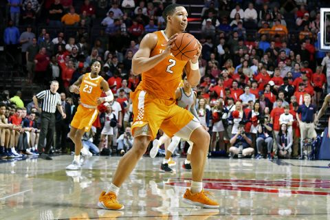 Tennessee Vols forward Grant Williams (2) handles the ball against the Mississippi Rebels during the first half at The Pavilion at Ole Miss. (Matt Bush-USA TODAY Sports)