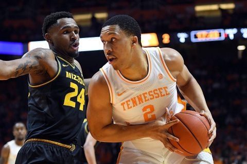 Tennessee Volunteers forward Grant Williams (2) controls the ball as Missouri Tigers forward Kevin Puryear (24) defends during the first half at Thompson-Boling Arena. (Randy Sartin-USA TODAY Sports)