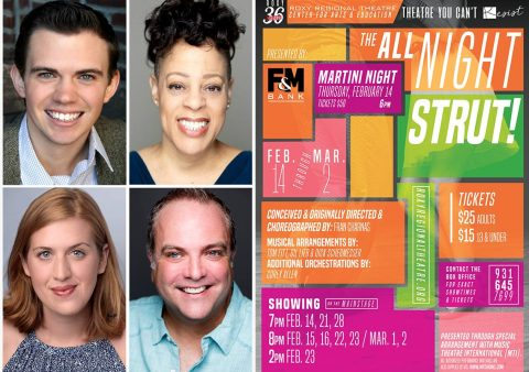 "(Clockwise from top left) Ryan Bowie, Brooke Leigh Davis, Brian Best and Emma Jordan star in ""The All Night Strut!"" at the Roxy Regional Theatre, February 14th - March 2nd"