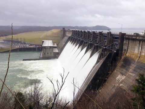 Wolf Creek Dam in Jamestown, KY, releases water from Lake Cumberland February 20th, 2019. (Misty Cravens, USACE)