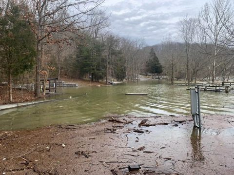 Water levels are high at Fishing Creek Recreation Area at Lake Cumberland, KY, February 19th, 2019. The U.S. Army Corps of Engineers Nashville District closed this area to the public. (Ashley Webster, USACE)