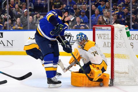 Feb 26, 2019; St. Louis, MO, USA; Nashville Predators goaltender Juuse Saros (74) defends the net against St. Louis Blues right wing Vladimir Tarasenko (91) during the first period at Enterprise Center. Mandatory Credit: Jeff Curry-USA TODAY Sports