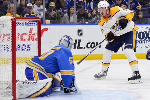 Nashville Predators center Ryan Johansen (92) shoots as St. Louis Blues goaltender Jordan Binnington (50) defends the net during the second period at Enterprise Center. (Jeff Curry-USA TODAY Sports)