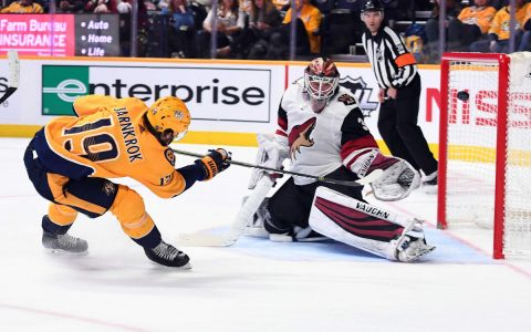 Feb 5, 2019; Nashville, TN, USA; Nashville Predators center Calle Jarnkrok (19) scores past Arizona Coyotes goaltender Calvin Pickard (30) during the third period at Bridgestone Arena. Mandatory Credit: Christopher Hanewinckel-USA TODAY Sports