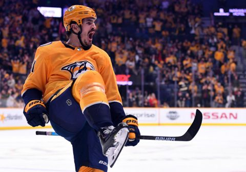 Nashville Predators center Brian Boyle (11) celebrates after scoring during the third period against the Montreal Canadiens at Bridgestone Arena. (Christopher Hanewinckel-USA TODAY Sports)
