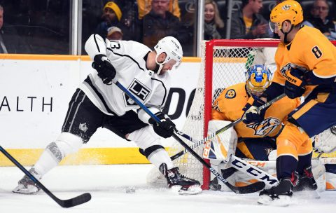 Los Angeles Kings left wing Kyle Clifford (13) has a wrap around attempt blocked by Nashville Predators goaltender Pekka Rinne (35) during the second period at Bridgestone Arena. (Christopher Hanewinckel-USA TODAY Sports)