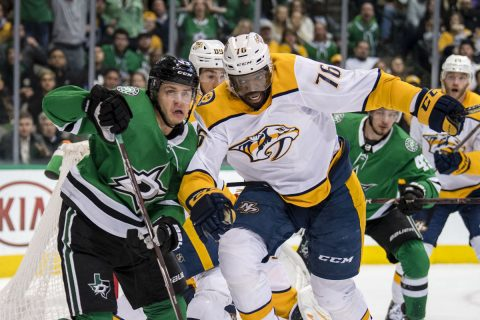 Dallas Stars center Mattias Janmark (13) and Nashville Predators defenseman P.K. Subban (76) chase the puck during the second period at the American Airlines Center. (Jerome Miron-USA TODAY Sports)