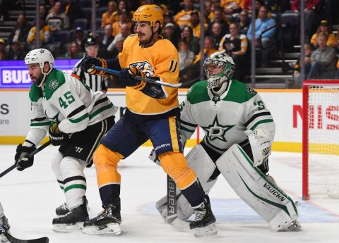 Feb 7, 2019; Nashville, TN, USA; Nashville Predators center Brian Boyle (11) works in front of Dallas Stars goaltender Anton Khudobin (35) during the first period at Bridgestone Arena. Mandatory Credit: Christopher Hanewinckel-USA TODAY Sports