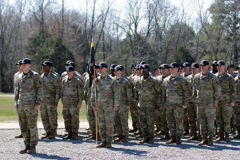 Incoming Commander of The Sabalauski Air Assault School, Captain Kevin Gibbons assumes command of TSAAS formation at the end of Change of Command Ceremony, Wednesday March 6, 2019 on Fort Campbell, Ky. Currently the school offers multiple courses, including Air Assault, Rappel Master, Fast Rope Insertion Extraction System and Special Purpose Insertion Extraction System, Pathfinder and the Pre-Ranger course. (Spc. Grant Ligon, 40th Public Affairs Detachment)