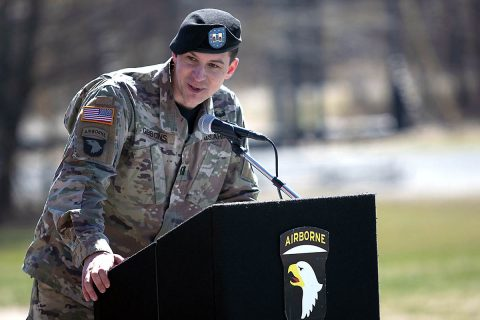 Incoming commander of The Sabalauski Air Assault School, Captain Kevin Gibbons, gives a speech during his Change of Command Ceremony, Wednesday, March 6, 2019. Gibbons grew up in Monroe Township, New Jersey and graduated from the University of Scranton in May 2010, where he was commissioned as a Logistics Officer. (Spc. Grant Ligon, 40th Public Affairs Detachment)