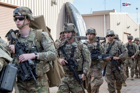 U.S. Soldiers from the 101st Airborne Division (Air Assault), assigned to the East Africa Response Force (EARF), deployed in support of Combined Joint Task Force Horn of Africa, prepare to depart for Libreville, Gabon, at Camp Lemmonier, Djibouti, Jan. 2, 2019. (U.S. Air Force photo by Staff Sgt. Amy Picard)