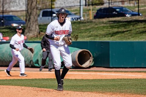 Austin Peay Baseball pitcher Brandon Vial holds Tennessee Tech scoreless for six innings in Govs 8-1 win, Sunday. (APSU Sports Information)