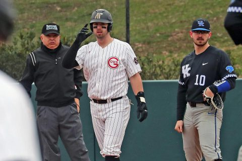 Austin Peay Baseball junior Parker Phillips had 3 hits and 1 RBI in win over Middle Tennessee Tuesday night. (Robert Smith, APSU Sports Information)