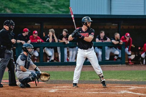Austin Peay Baseball redshirt sophomore Parker Phillips nails a two run home run to help power the Govs to victory, Sunday. (Robert Smith, APSU Sports Information)